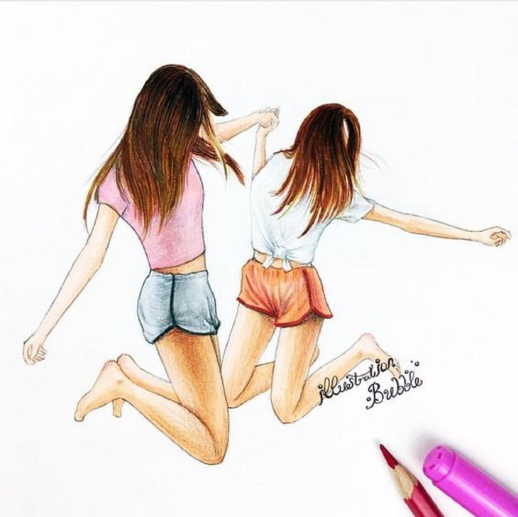 Two Best Friends Drawing: The Most Beautiful Images For You - MobyGeek.com